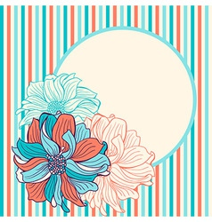 Greeting card with hand-drawn flowers vector image vector image