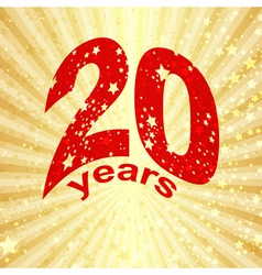 Greeting card with the 20th anniversary vector