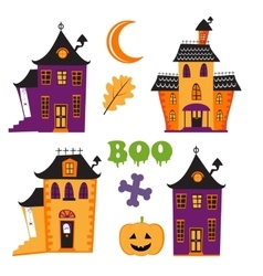 Halloween set with haunted houses vector