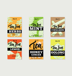Hand drawn healthy tea brochures vector