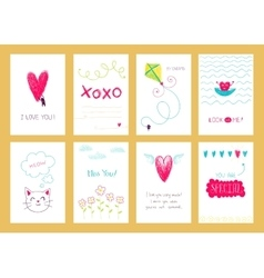 Hand drawn romantic posters vector image