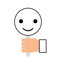 hand holding placard smiley call center customer vector image