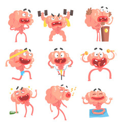 Humanized brain cartoon character with arms and vector