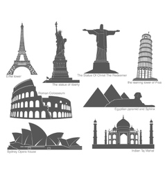 Landmarks in black with elements vector