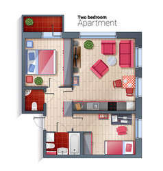 modern two bedroom apartment top view vector image vector image