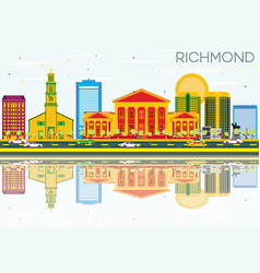 richmond skyline with color buildings blue sky vector image vector image