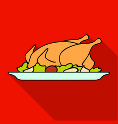 Roasted chicken with garnish icon in flat style vector