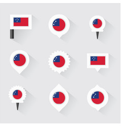 Samoa flag and pins for infographic and map design vector