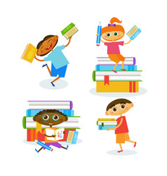 Set of kids with books reading cute children happy vector