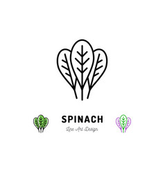 Spinach leaves icon vegetables logo spice thin vector