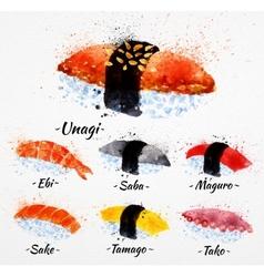 Sushi watercolor vector
