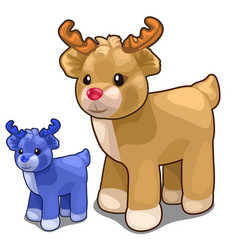 Two deer toys of different colors blue and brown vector