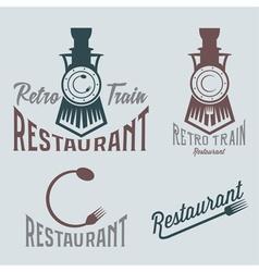Vintage set of retro train restaurant vector