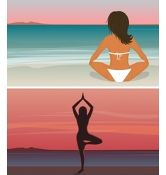 Woman is doing yoga on the sunset beach vector