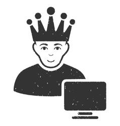 Computer Moderator Grainy Texture Icon vector image