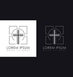 Cross logo christian symbols vector