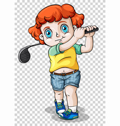 Boy playing golf on transparent background vector