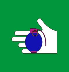 Flat icon design collection frag grenade in hand vector