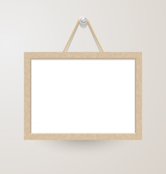 White board hanging on a nail vector