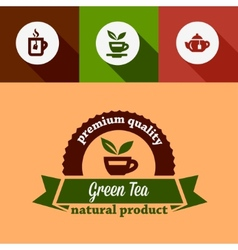 Flat green tea design elements vector