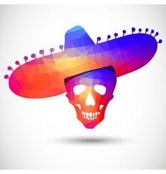 Colorful geometric skull in sombrero vector