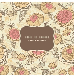 Vintage brown pink flowers frame seamless pattern vector