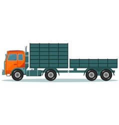 Truck with high and low trailers vector