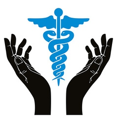 Hands with caduceus symbol vector