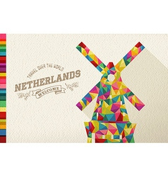Travel netherlands landmark polygonal windmill vector