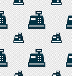 Cash register icon sign seamless pattern with vector