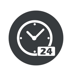 Monochrome round 24 hours icon vector