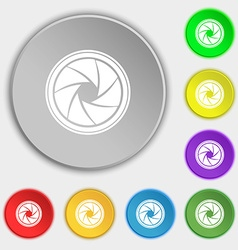 Diaphragm icon aperture sign symbols on eight flat vector