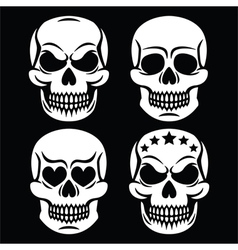 Halloween human skull white design - death vector