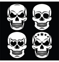 Halloween human skull white design - death vector image