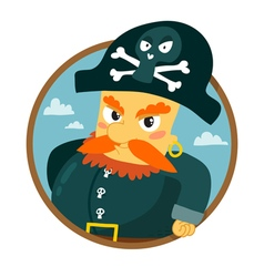 Funny pirate character round badge isolated on vector