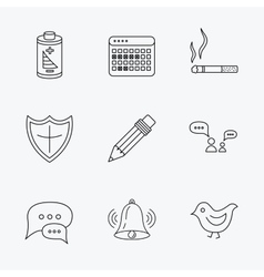 Battery pencil and protection shield icons vector