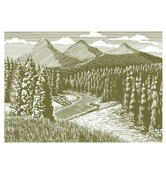 Woodcut Mountain Stream vector image