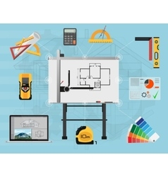 Architect panel board planning and creating vector