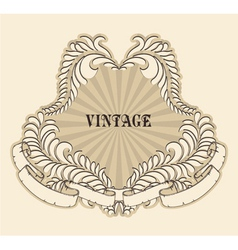retro floral label vector image