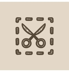 Scissors with dotted lines sketch icon vector