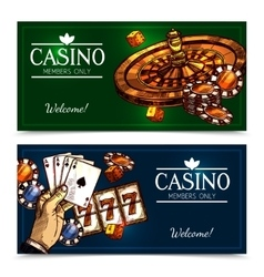 Sketch casino horizontal banners vector
