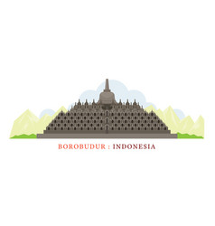 borobudur indonesia vector image vector image