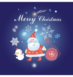 Christmas background with santa claus and snowman vector