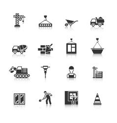 Construction black icons set vector