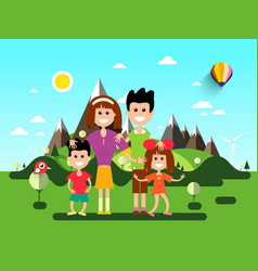 Family on holidays landscape with mountains on vector
