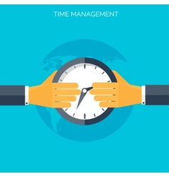 Flat hands with clock time management concept vector