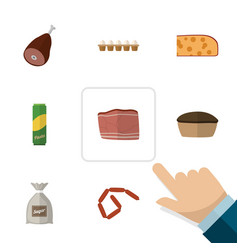 Flat icon eating set of tart sack eggshell box vector