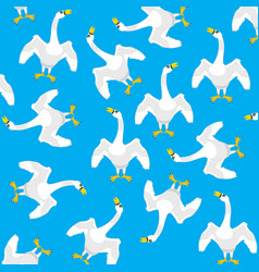 Geese on turn blue background vector
