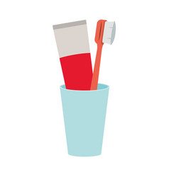 glass with tube toothpaste and toothbrush colorful vector image