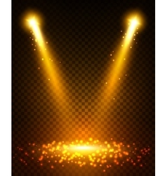 Gold spot light beams on stage vector image vector image